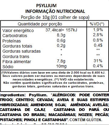 Psyllium Husk 100% Puro C/ Laudo - 1Kg