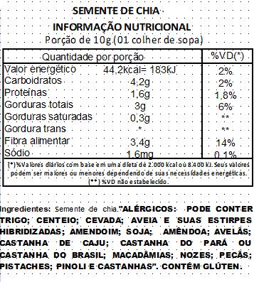 Semente de Chia Premium Selecionada a Vácuo - 500g