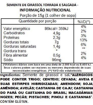 Semente de Girassol Torrada e Salgada Sem Casca - 200 g