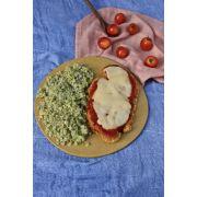 Frango a Parmegiana + Arroz de couve flor e brócolis