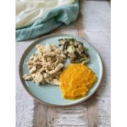 Frango Mostarda + Purê de Abóbora + Mix de Legumes