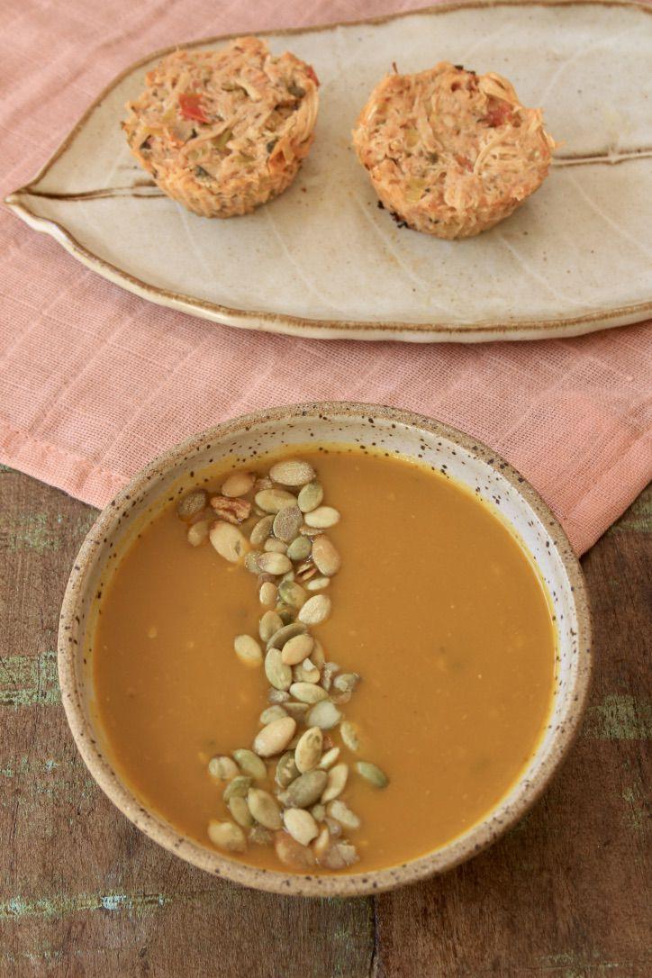 Sopa Laranja + Torta Low Carb de Frango