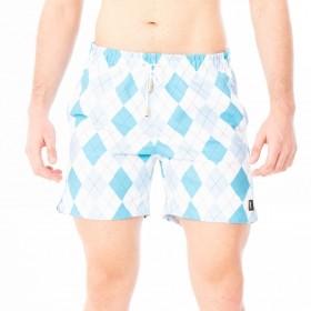 Bermuda geométrica em tons de azul