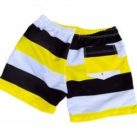 Bermuda listrada tricolor com amarelo