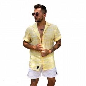 Camisa de algodão amarela com branca com efeito de linho