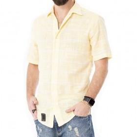 Camisa de linho amarela com branca