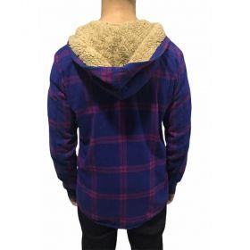 Camisa xadrez flanela azul e roxo