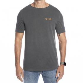 Camiseta cinza com escrita Forinc laranja
