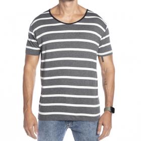 Camiseta listrada sem bolso Viscose Gola aberta
