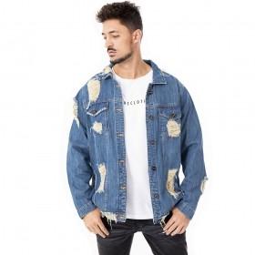 Jaqueta jeans com rasgados destroyed