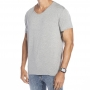 Camiseta Cinza Básica Viscose Gola aberta