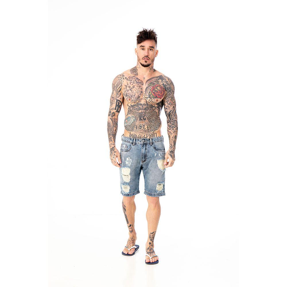 Bermuda Jeans blue Destroyed