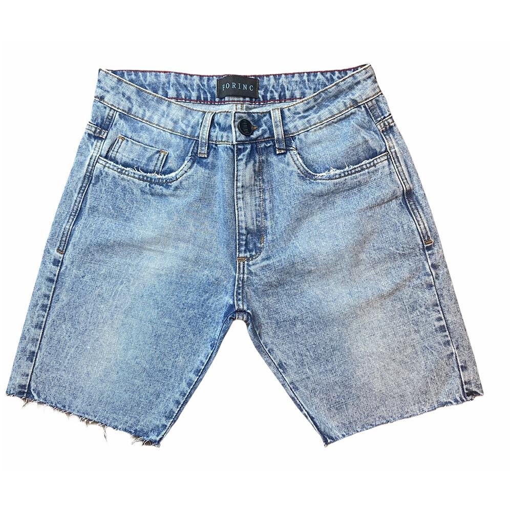 Bermuda Jeans tradicional com corte a fio