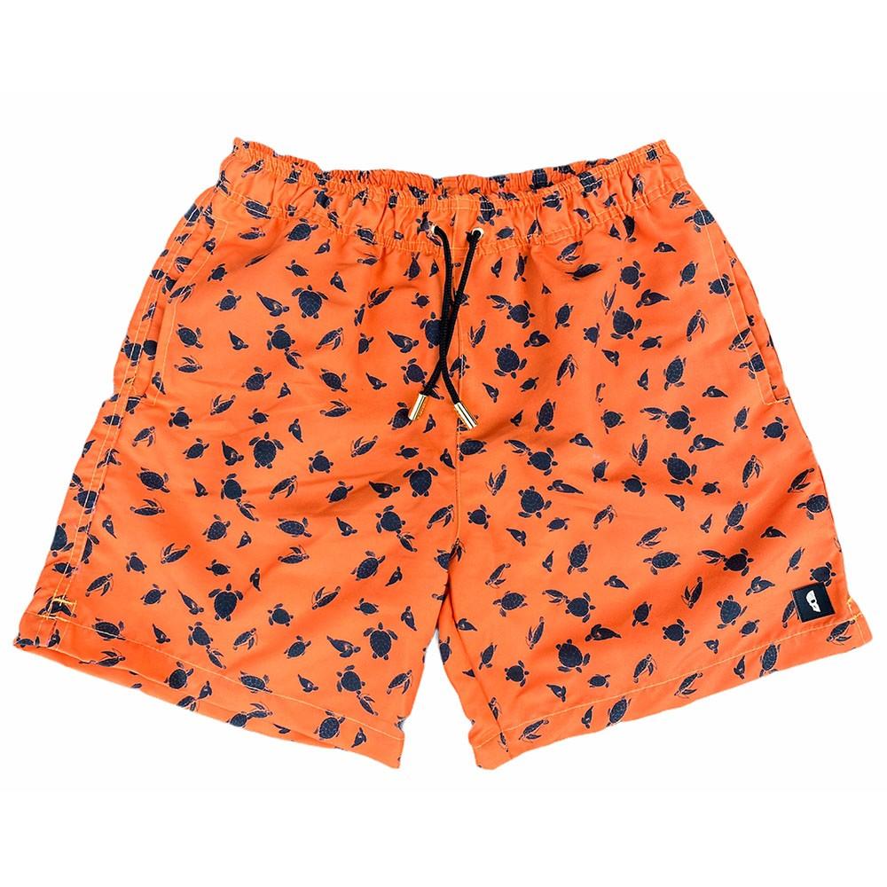 Bermuda laranja com mini tartarugas