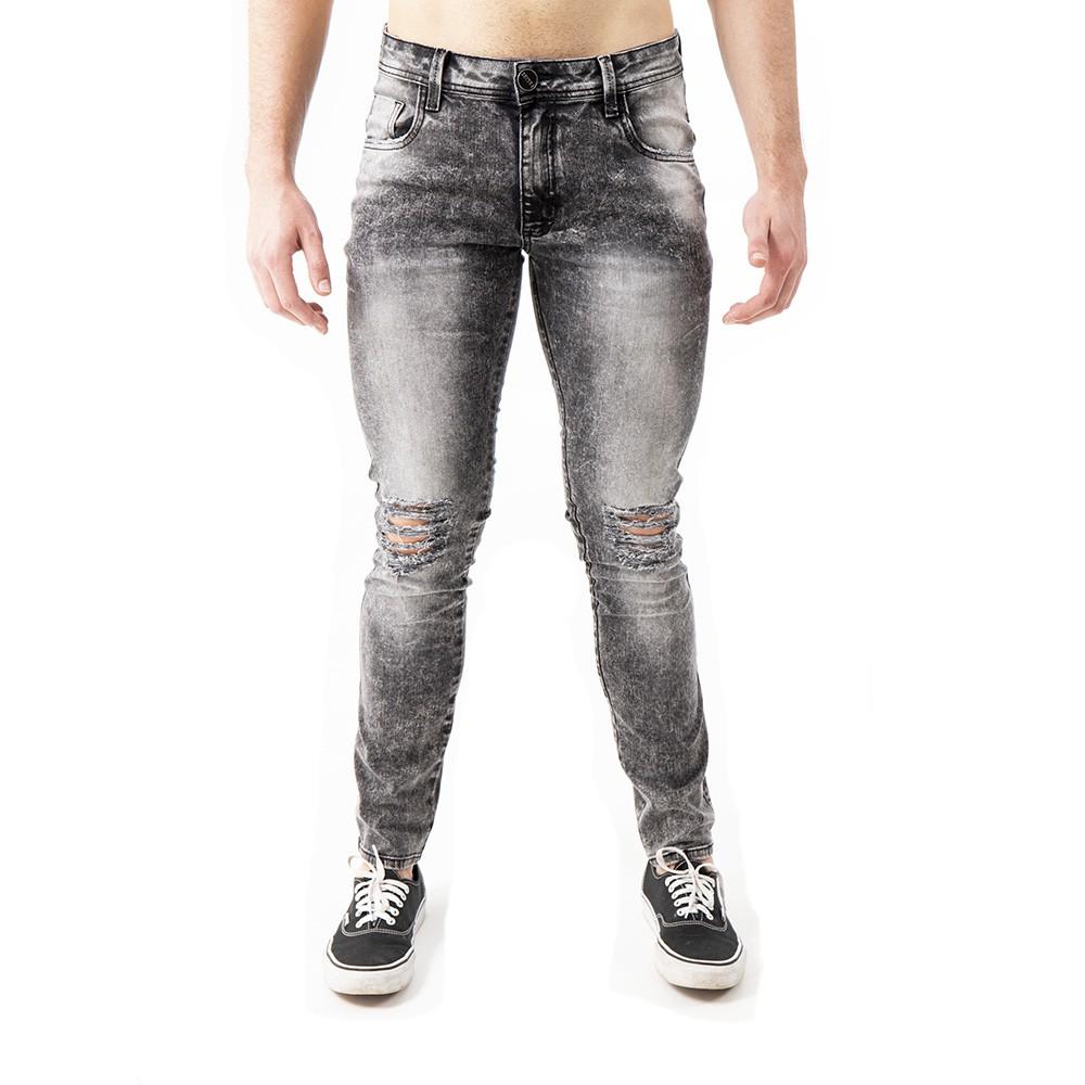 Calça Jeans skinny  marmorizado com detonados