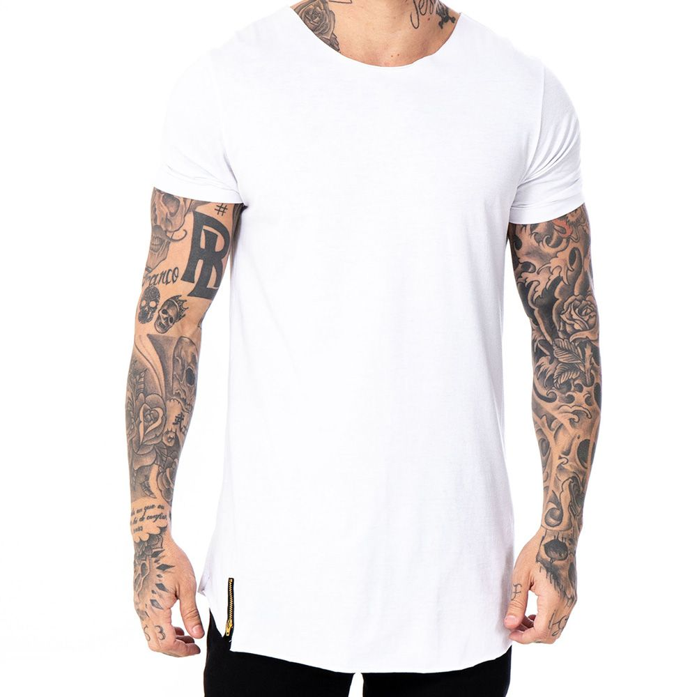 Camiseta Long line básica branca