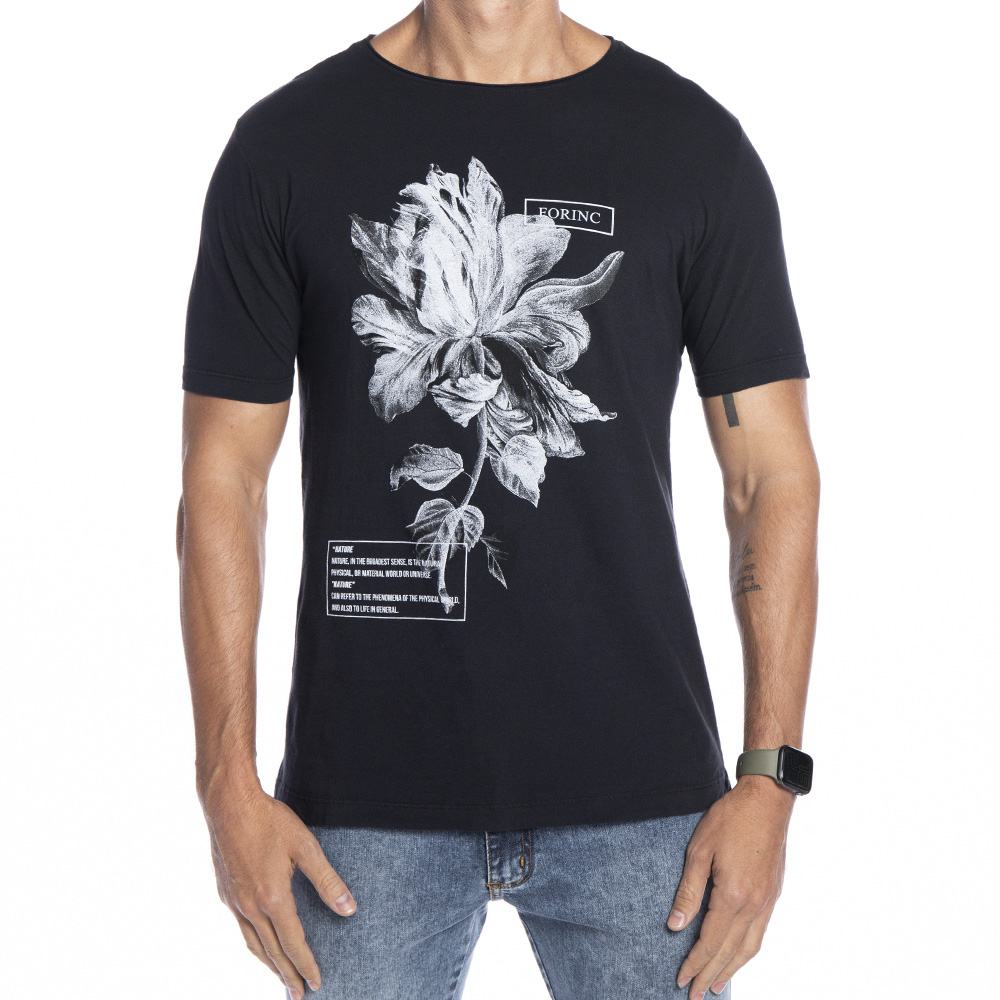 Camiseta Black White Flower