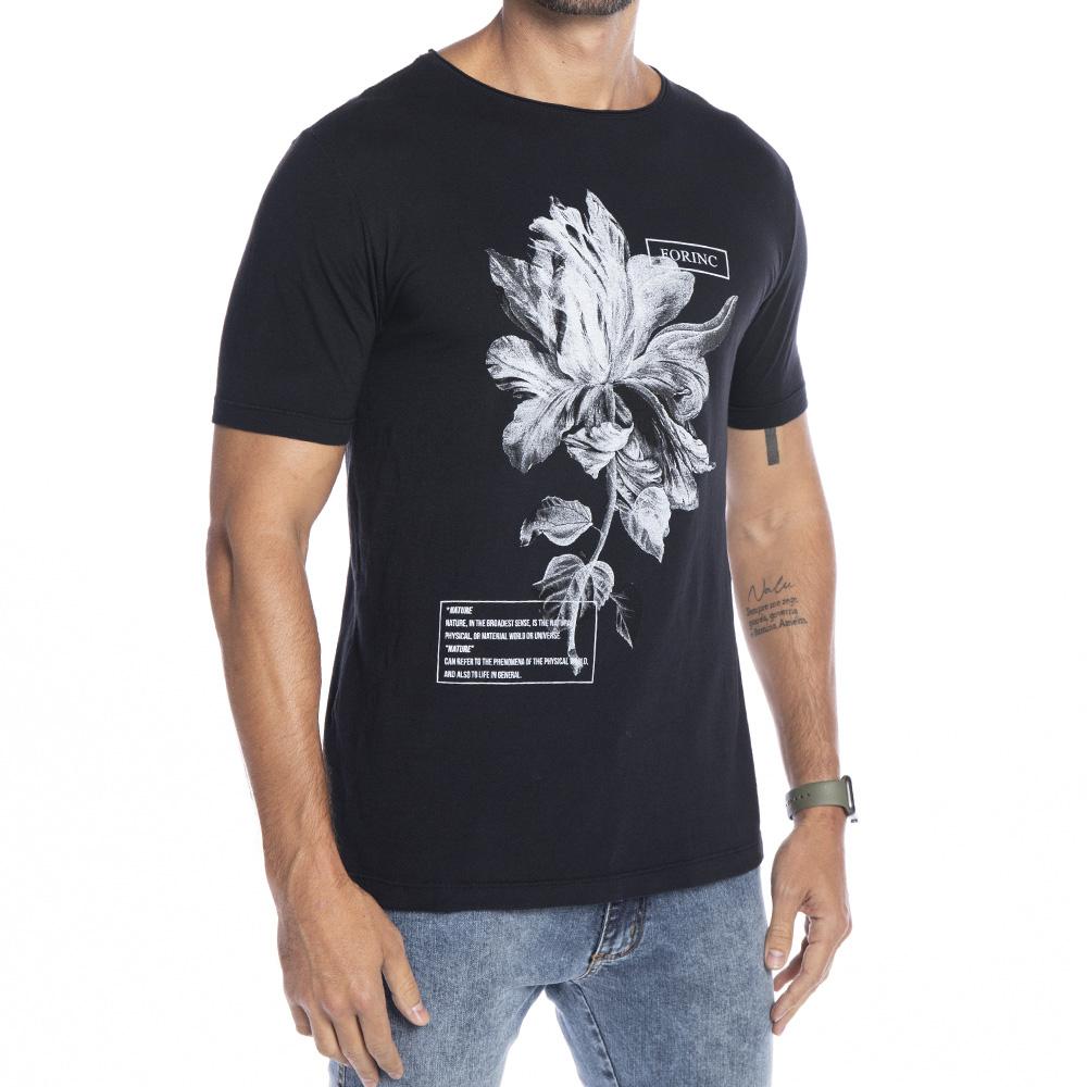 Camiseta Black White Flower