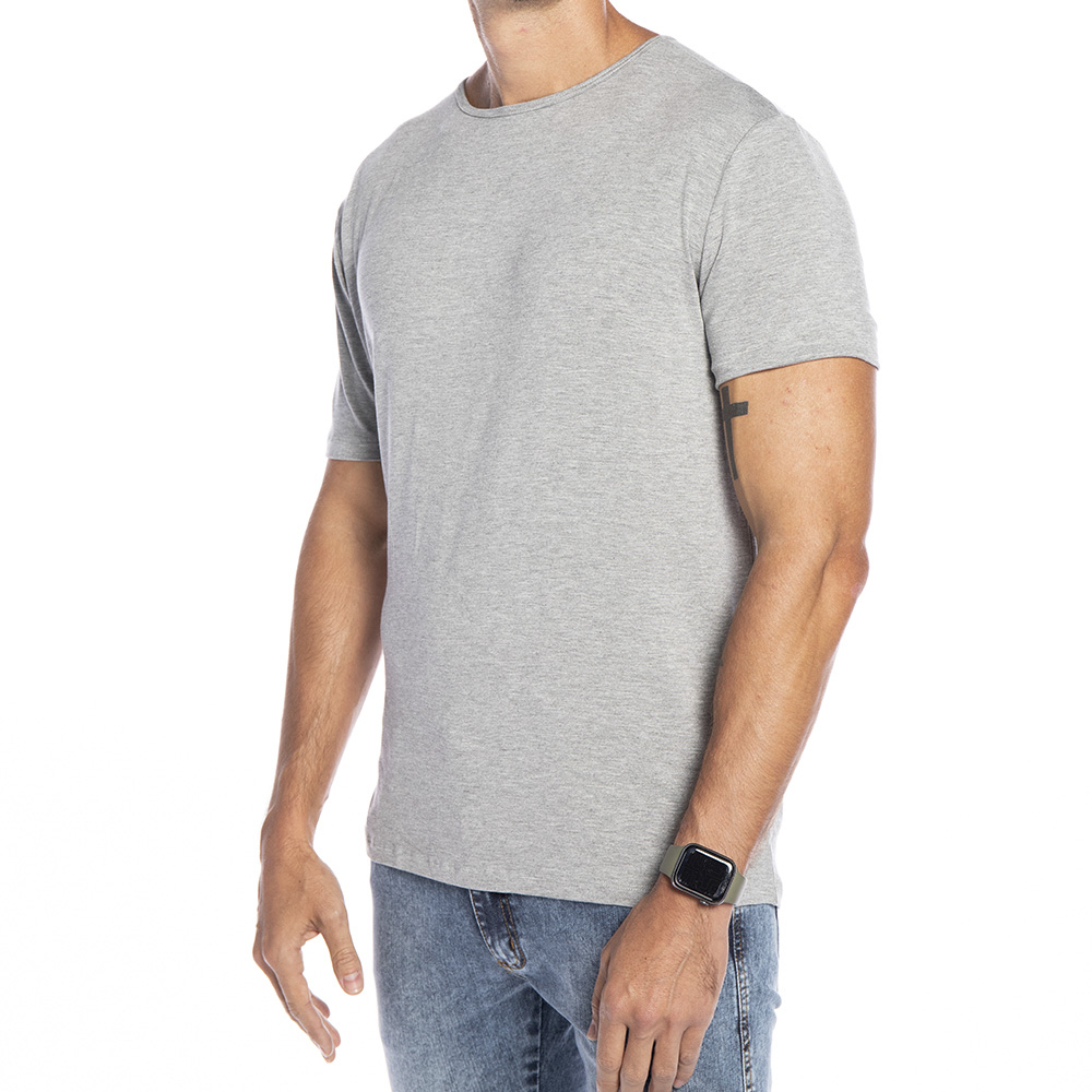 Camiseta Cinza Básica Viscose Gola Fechada