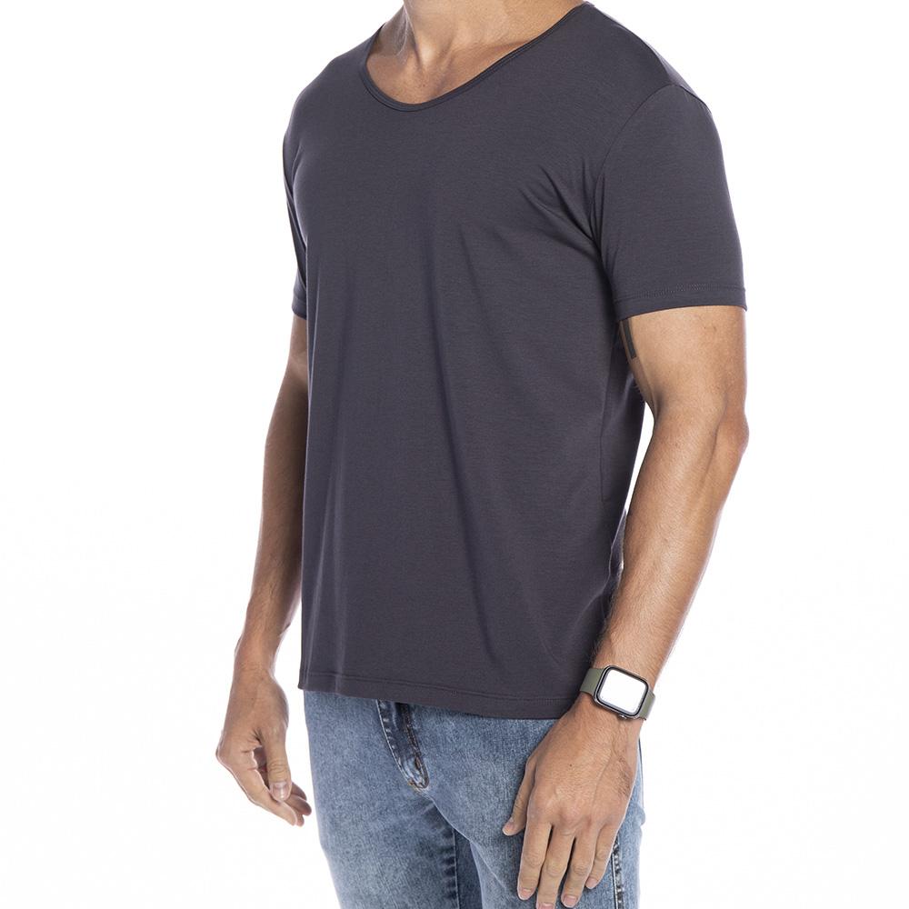 Camiseta cinza chumbo Básica Supimã Gola aberta