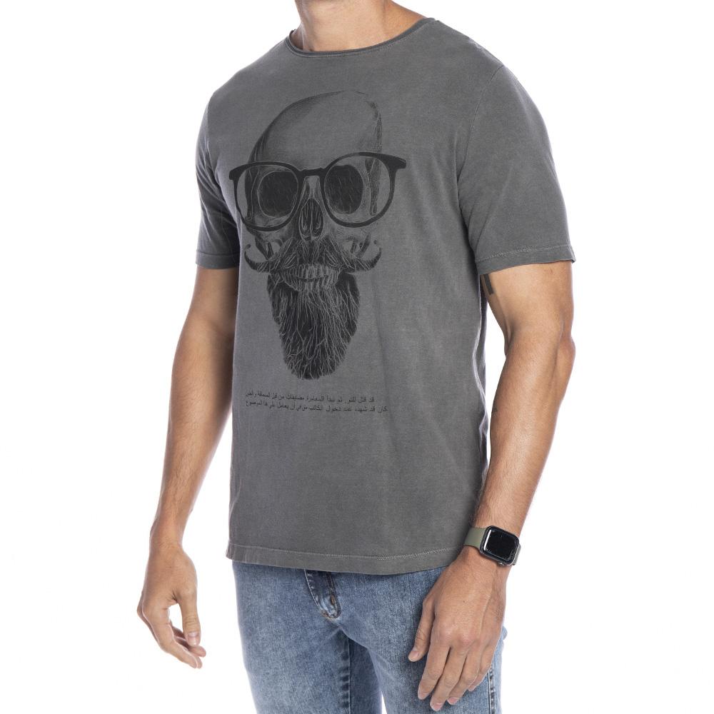 Camiseta cinza tingimento a seco com estampa Caveira com óculos