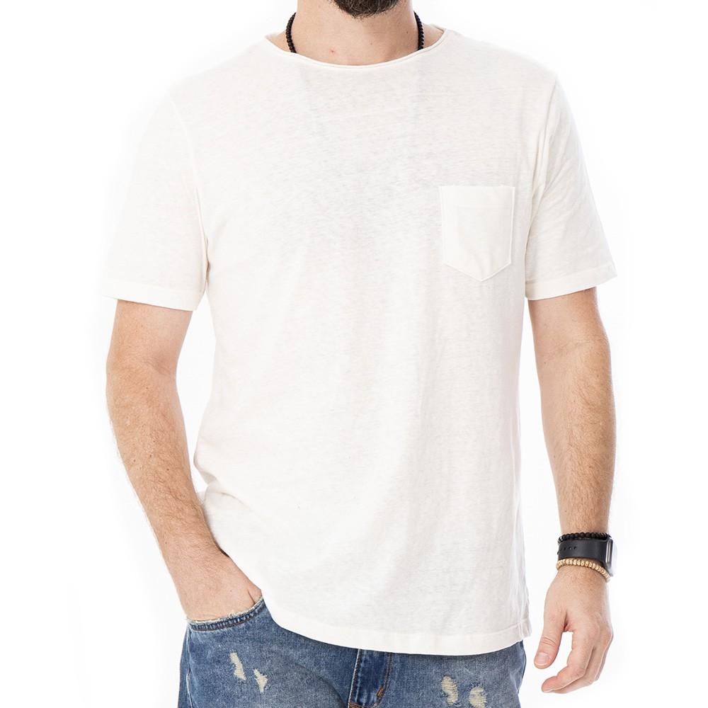 Camiseta de linho com bolso