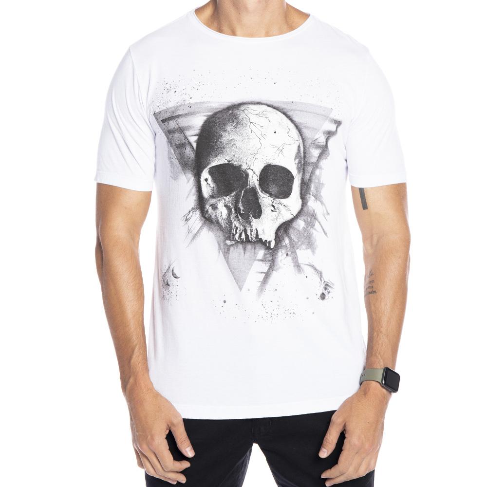 Camiseta Estampada Caveira Triângulo