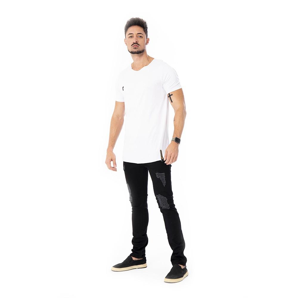 Camiseta long line basica branca