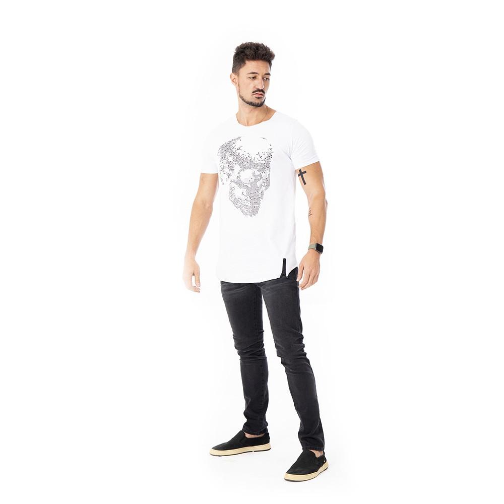Camiseta Long line branca com caveira em strass