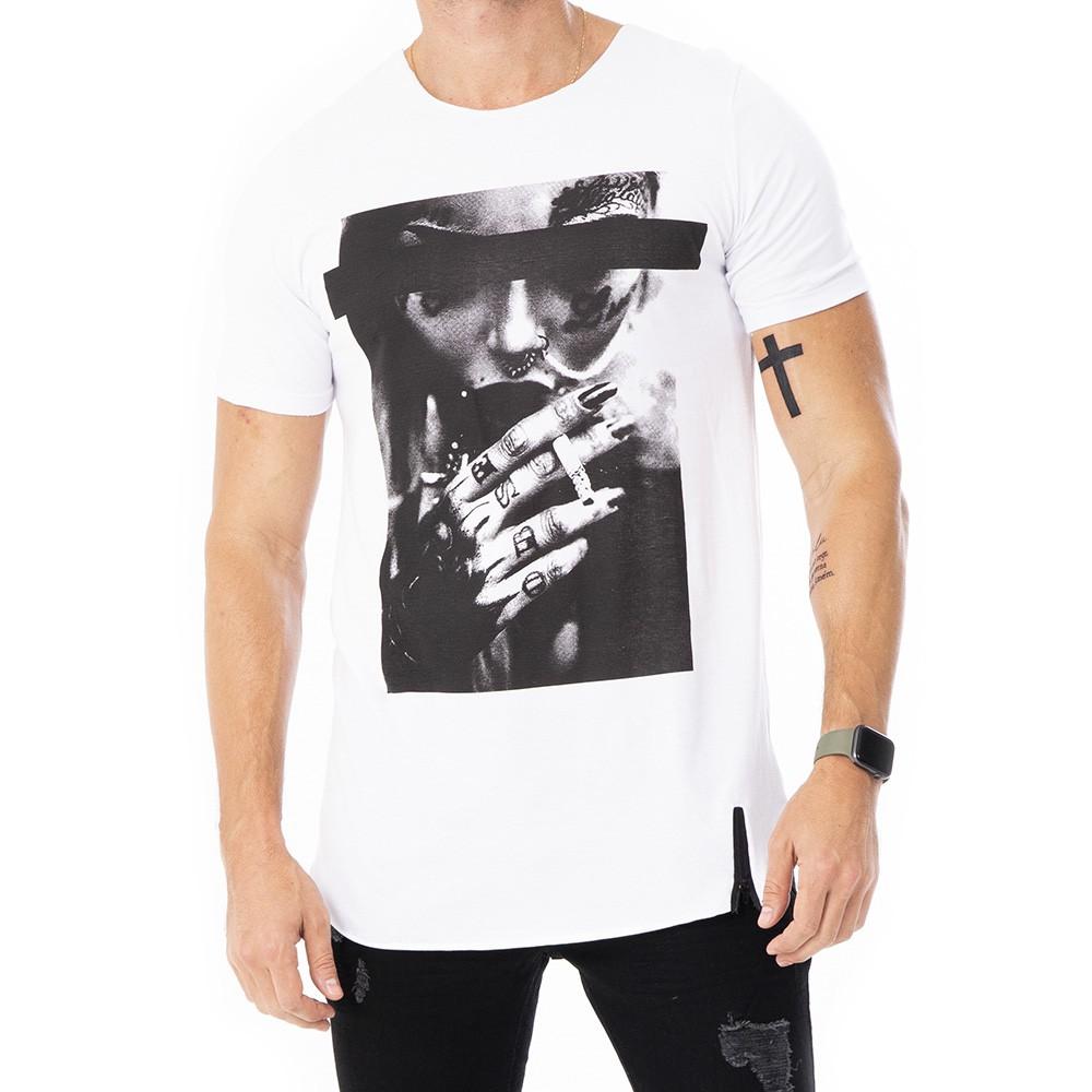 Camiseta long line estampada