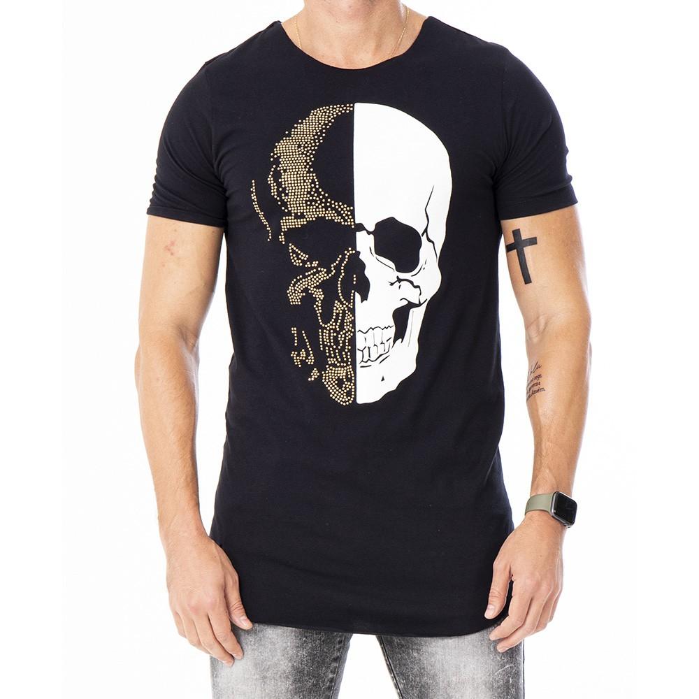 Camiseta long line preta de caveira em strass e veludo