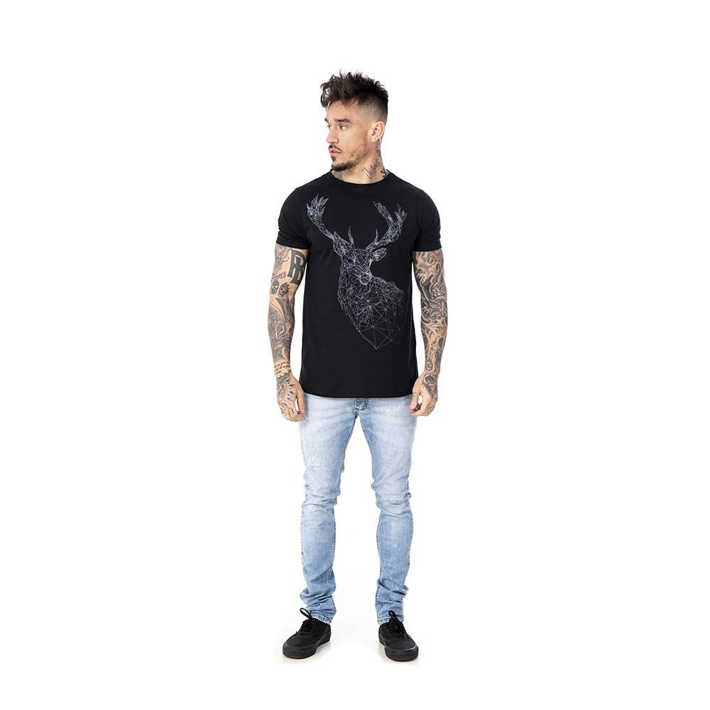 Camiseta preta com estampa alce geométrico