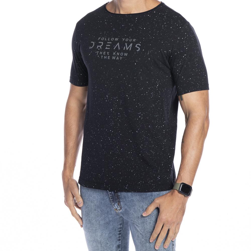 Camiseta preta com respingos e estampa Dreams