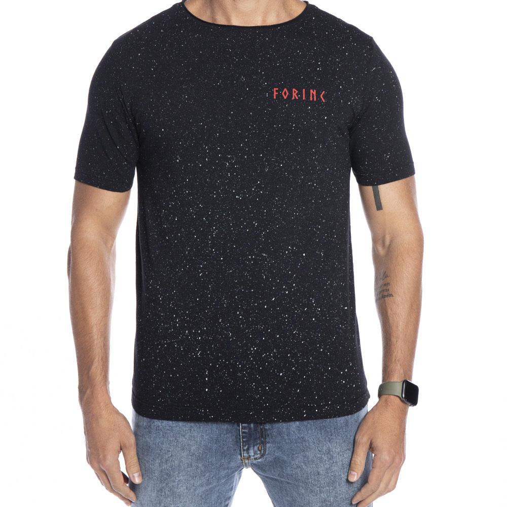 Camiseta preta com respingos e estampa Forinc