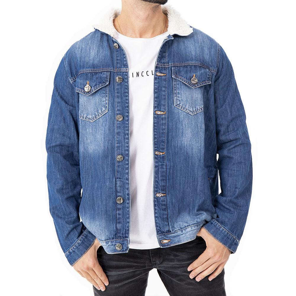 Jaqueta jeans com pêlo branco na gola