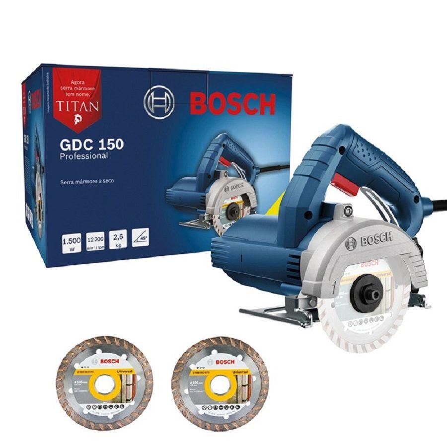 Serra Mármore Á Seco 1.500w 125 Mm + 2 Discos Bosch Gdc 150