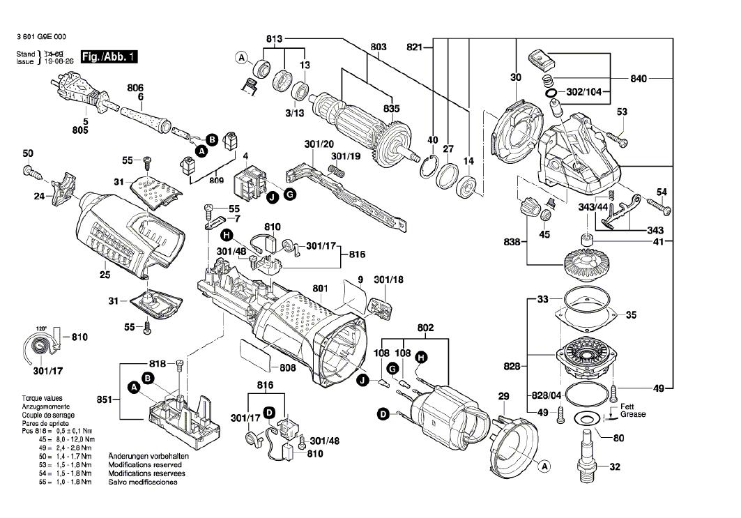 Vista Explodida Peças de Reposição Para Esmerilhadeira GWS 13-125 CI Bosch - 3601G9E0E0