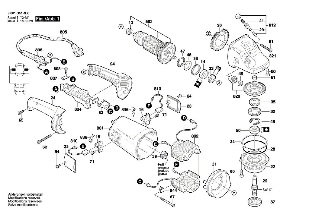 Vista Explodida Peças de Reposição Para Esmerilhadeira GWS 21-180 Bosch - 3601G514D0 / 4E0