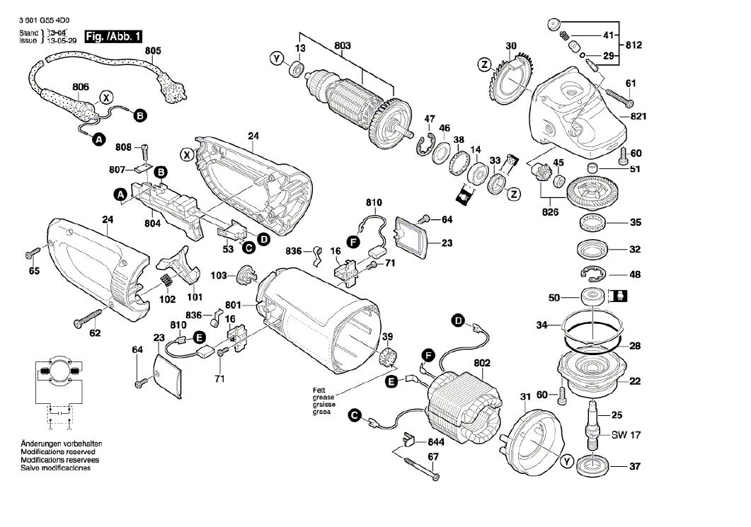 Vista Explodida Peças de Reposição Para Esmerilhadeira GWS 26-230 Bosch - 3601HA60E0 / 0D0