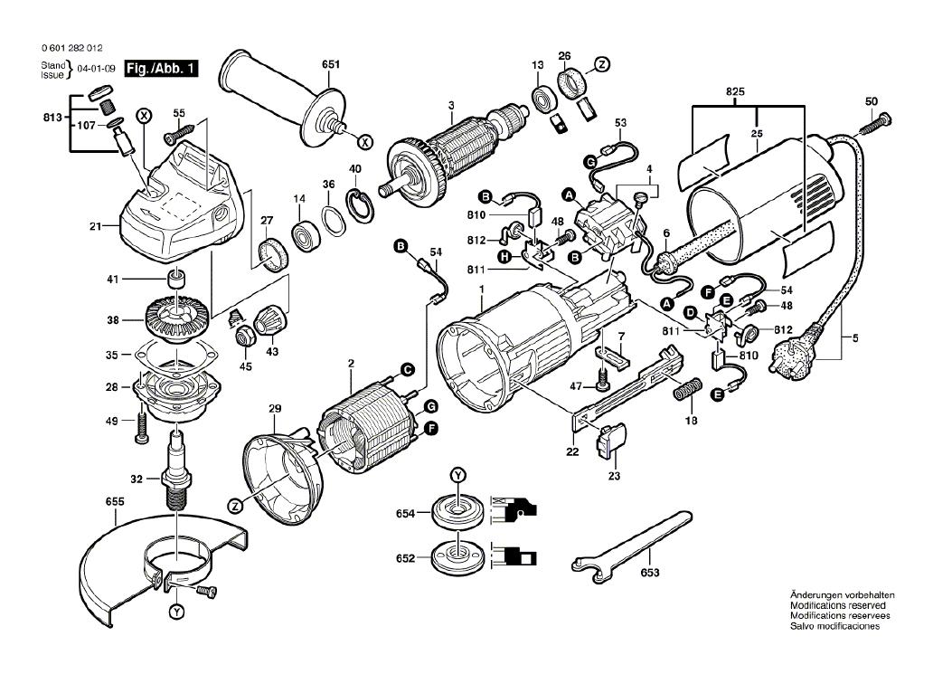 Vista Explodida Peças de Reposição Para Esmerilhadeira GWS 6-115 Bosch - 0601375016 / 014