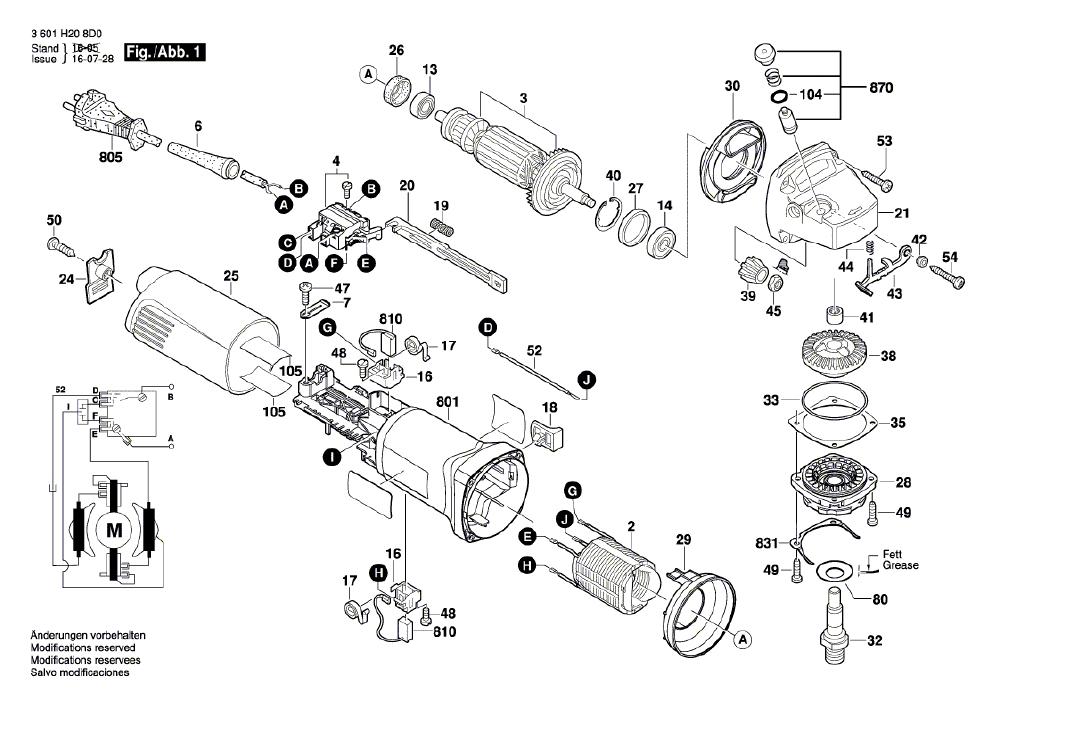 Vista Explodida Peças de Reposição Para Esmerilhadeira GWS 8-115 Bosch - 3601H208D0 / 8E0