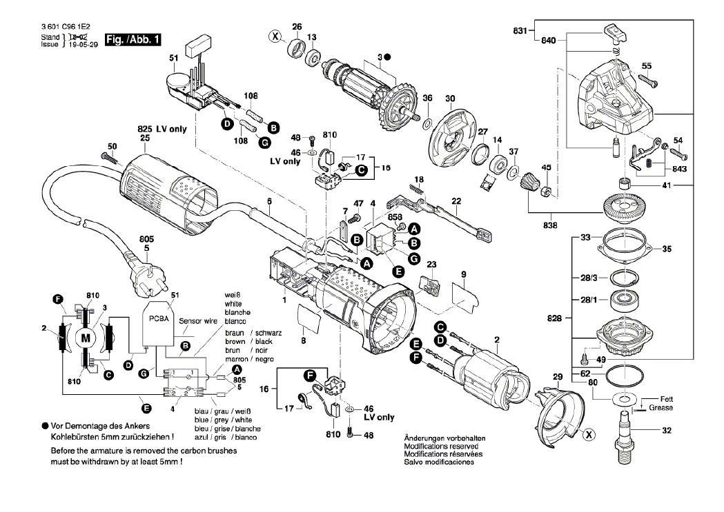 Vista Explodida Peças de Reposição Para Esmerilhadeira GWS 9-125 S Bosch - 3601C961D2 / 1E2