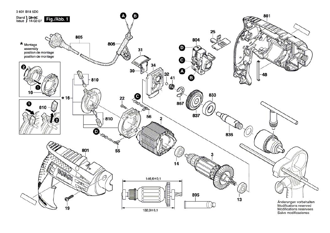 Vista Explodida Peças de Reposição Para Furadeira GSB 16 Re Bosch - 3601B185D0 / 5E0