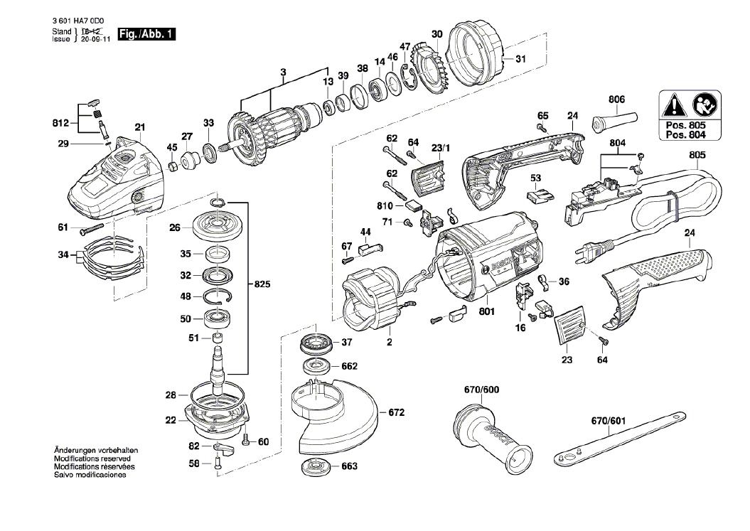 Vista Explodida Peças de Reposição Para Lixadeira Angular GWS 22 U Bosch - 3601HA70D0 / 0E0