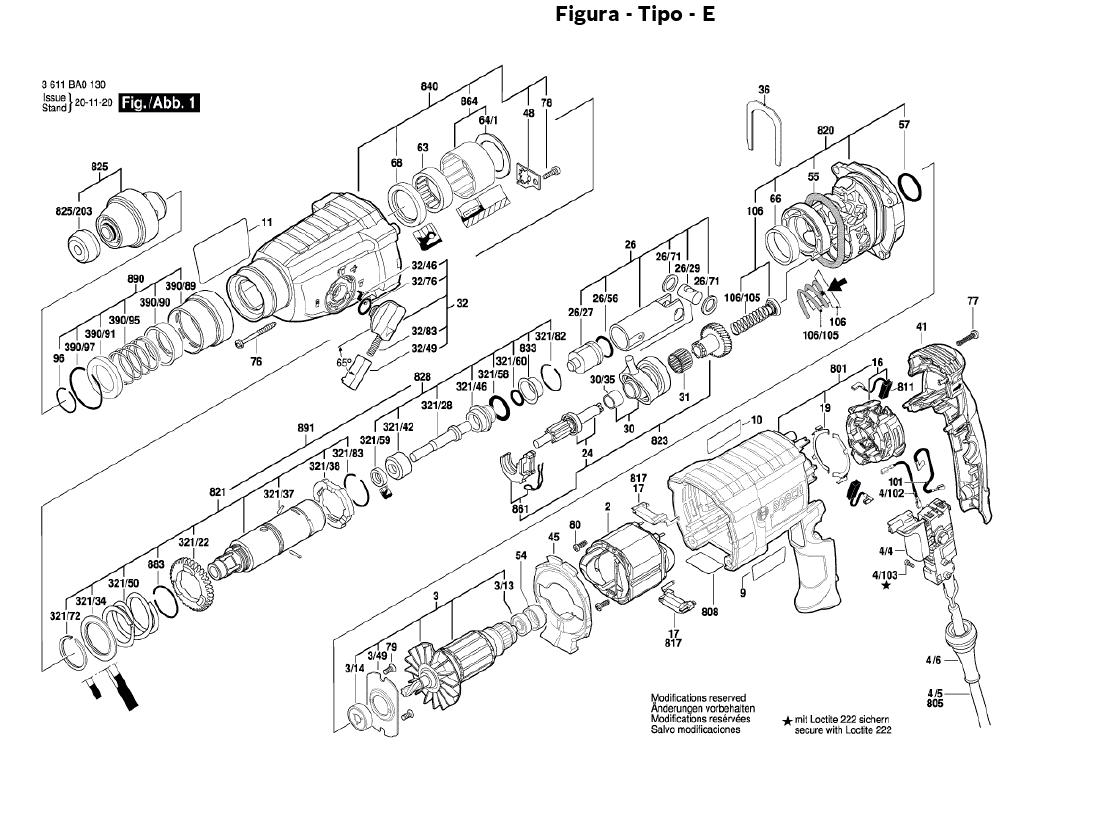 Vista Explodida Peças De Reposição Para Martelete GBH 2-24 DF Bosch - 3611BA01E0