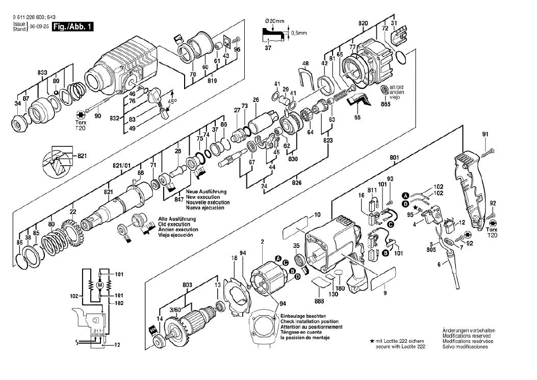 Vista Explodida Peças de Reposição Para Martelete GBH 2-24 DSE Bosch - 0611228616 / 614