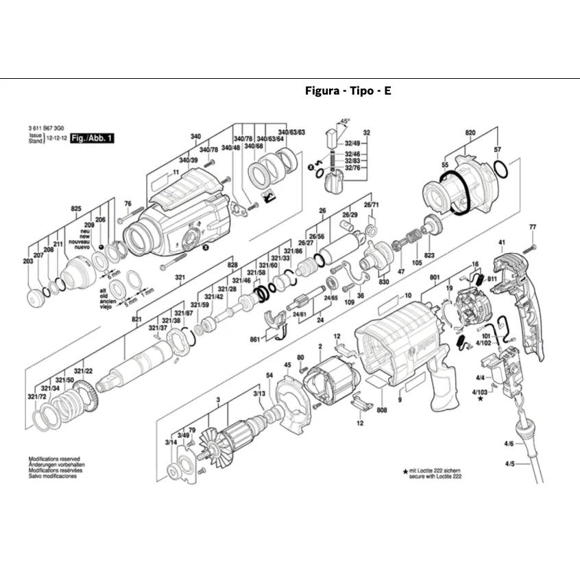 Vista Explodida Peças De Reposição Para Martelete GBH 2-24 DV Bosch - 3611BA01D0