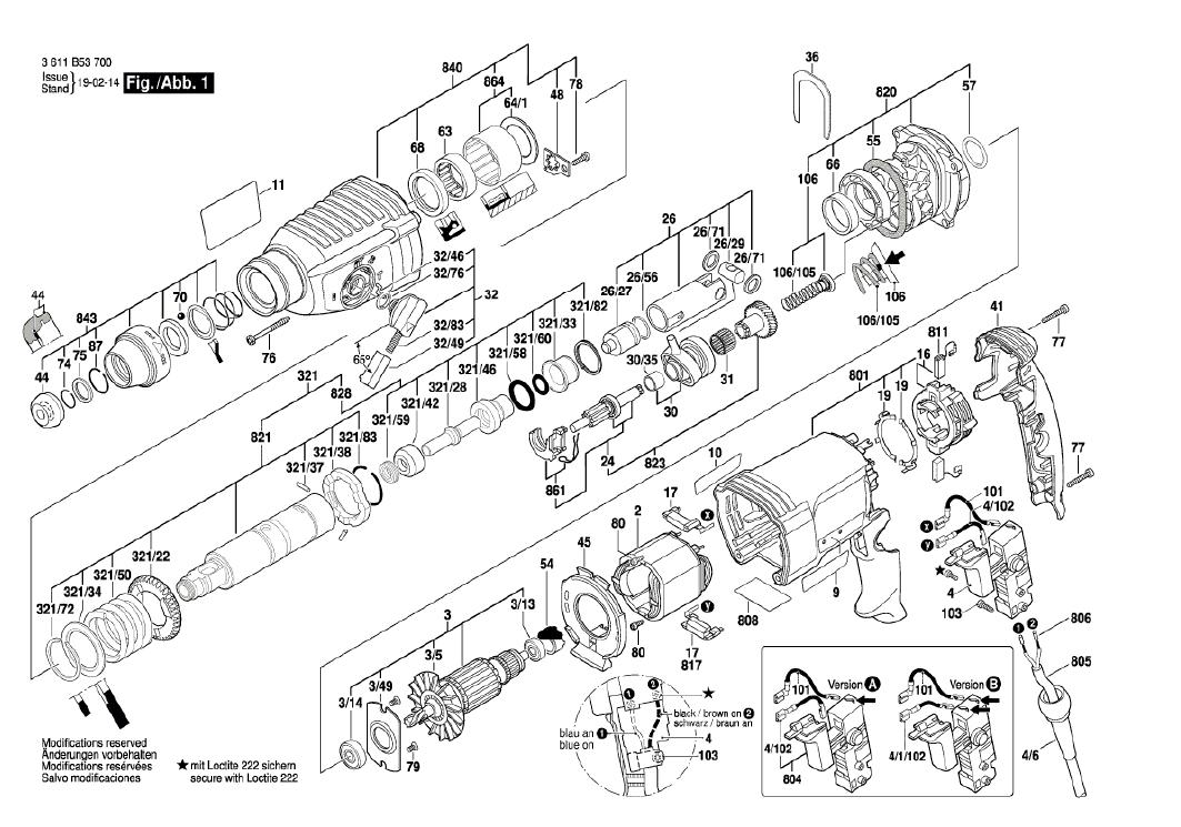 Vista Explodida Peças de Reposição Para Martelete GBH 2-26 DRE Bosch - 06112537D0  / 7E0