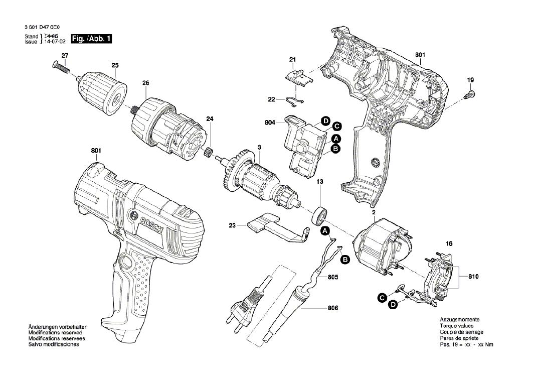 Vista Explodida Peças de Reposição Para Parafusadeira GSR 7-14 E Bosch - 3601D470D0 / 0E0