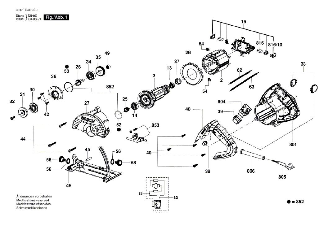 Vista Explodida Peças de Reposição Para Serra Marmore GDC 14-40 Bosch - 3601E484D0 / 4E0